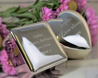 Personalised, Engraved Silver-Plated Trinket Boxes - Square (XAC25) or Heart (XAC33) Box, Valentines Day Gift, Silver Plated Gifts, Trinkets