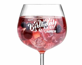 Any Name Any Colour Mothers Day B'day  Anniversary Personalised Gin Glass