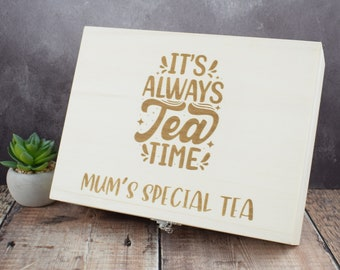 Personalised Engraved Tea Storage Box - Perfect Custom Gift For Tea Lovers, Bespoke Tea Boxes, Engraved Tea Caddy Tea Storage Box - Tea Time