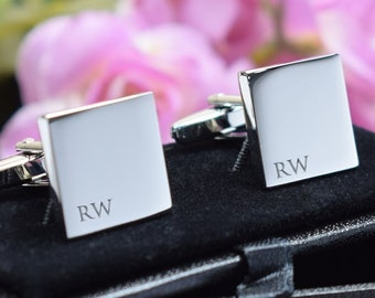 TURQUOISE Wedding Text Cufflinks with Personalised Chrome Engraved Case BOCW013
