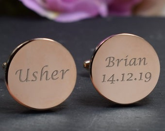 Engraved Rose Gold Cufflinks /& Personalised Gift Box Cuff Links gift rgcls8