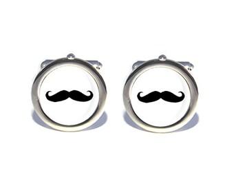 SALE Wedding Cufflinks Mustache Cuff Links Groomsman Cufflinks Plaid with Black Mustache