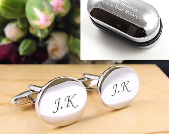 Silver OVAL Personalised Engraved Initial Cufflinks - Wedding and Birthday Gift - Personalised Engraved Gift Box Available