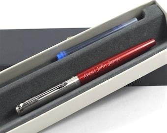 Kensington Red /& Chrome Parker Jotter Ballpoint Pen Blue Ink