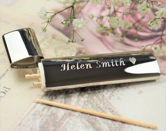Engraved Silver-Plated Toothpick Holder With Toothpicks (TP2) - Personalised Toothpick Holder, Christmas Stocking Filler, Secret Santa Gifts