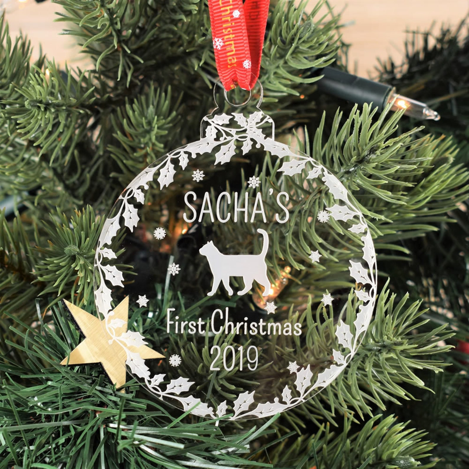 Engraved first Christmas decoration