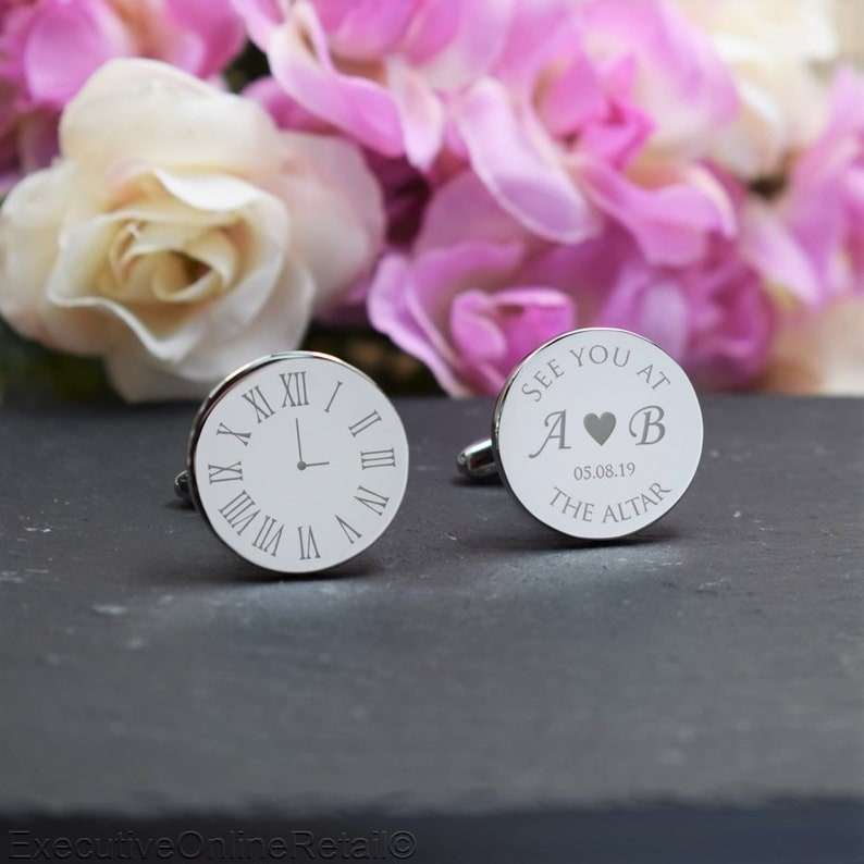 Personalised Engraved Gift Box Available Clock Silver Personalised Engraved ROUND Cufflinks -Wedding See you at the Altar