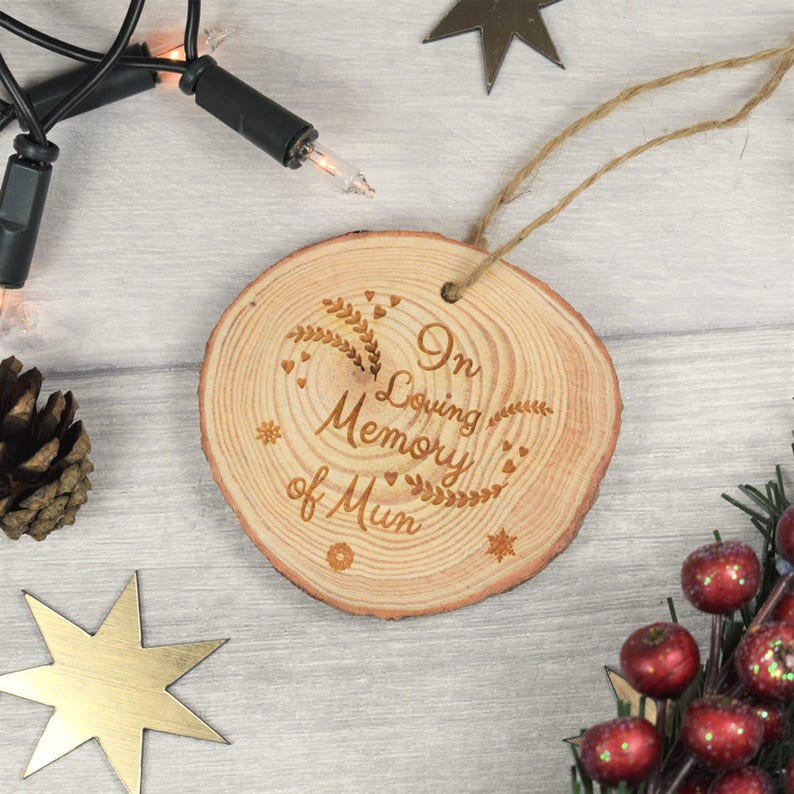 Great Wooden In Memory Star Christmas Tree Decoration Memorial Bauble