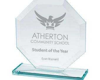 Personalised Engraved Jade Glass Oblivion Award Corporate Trophy Award - Company Awards Ceremony, Glass Trophy, Sports Trophies