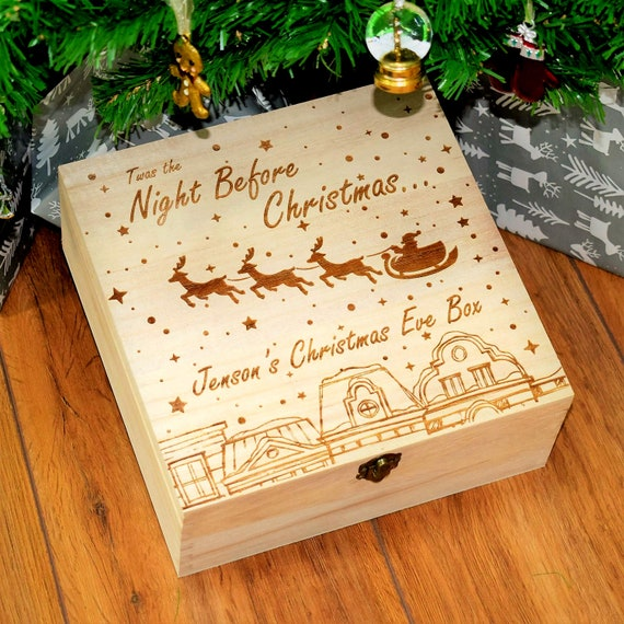 Engraved Personalised Name Wooden Christmas Eve Box