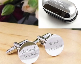 Mens Personalised Father of the Bride Wedding Day Custom Engraved ROUND Cufflinks - Personalised Engraved Gift Box Available
