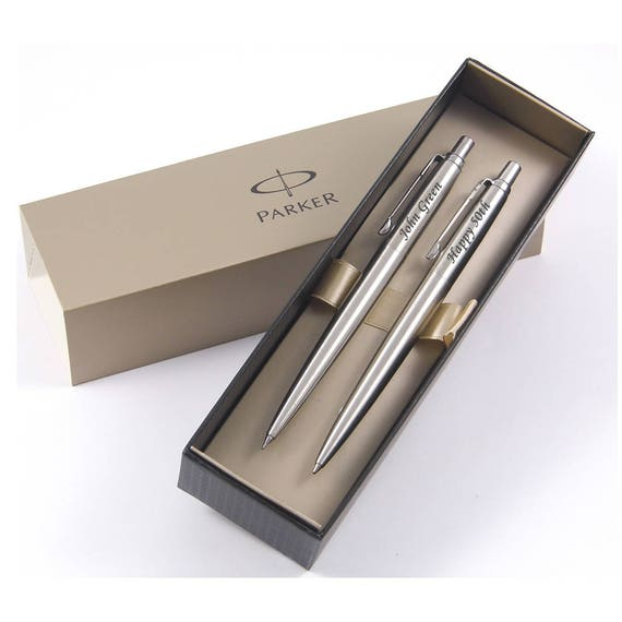 Personalised Engraved Parker Jotter Steel Silver /& Gold Ballpoint Pen-Black Ink