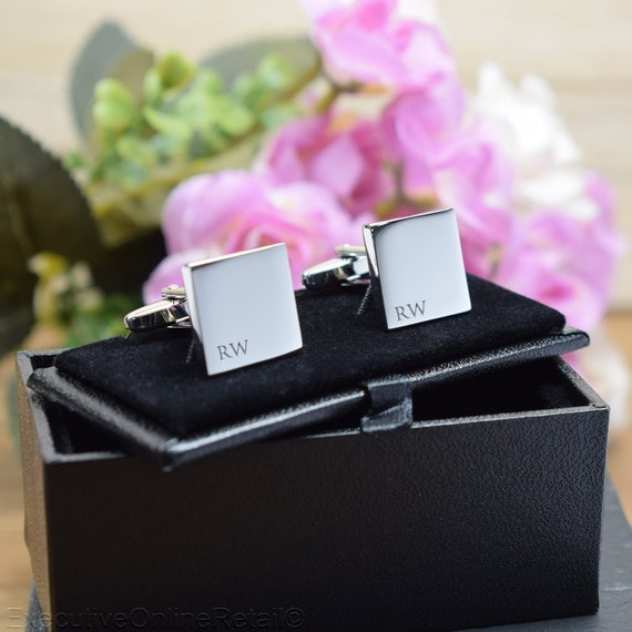 Personalised Engraved Gift Box Available Silver Personalised Engraved Initial RECTANGLE Cufflinks Wedding or Birthday Gift