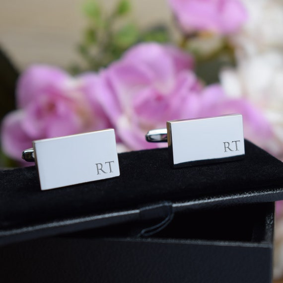 Silver Personalised Engraved Initial Rectangle Cufflinks   Wedding Or Birthday Gift   Personalised Engraved Gift Box Available by Etsy