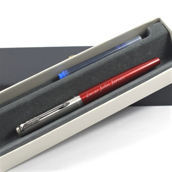 Engraved Fountain Pen Personalised Parker Jotter /'Kensington Red/' FOUNTAIN PEN Parker Pen Wedding Gift Engraved Fountain Pen Birthday