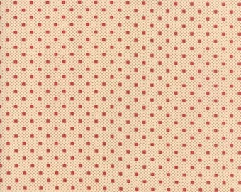 Farmhouse Reds - Dots on Dots Tan Red by Minick & Simpson for Moda, 1/2 yard, 14855 13