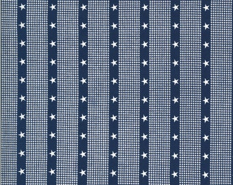 Harbor Springs - Striped Star Navy by Minick & Simpson for Moda, 1/2 yard, 14908 24