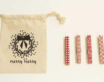 Merry Merry - Holiday Clothespins, 10 pieces