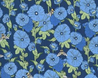 Break of Day - Hollyhocks Navy by Sweetfire Road for Moda fabrics, 1/2 yd, Floral, 43101 14
