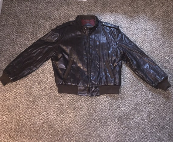 Vintage members only brown leather bomber jacket c