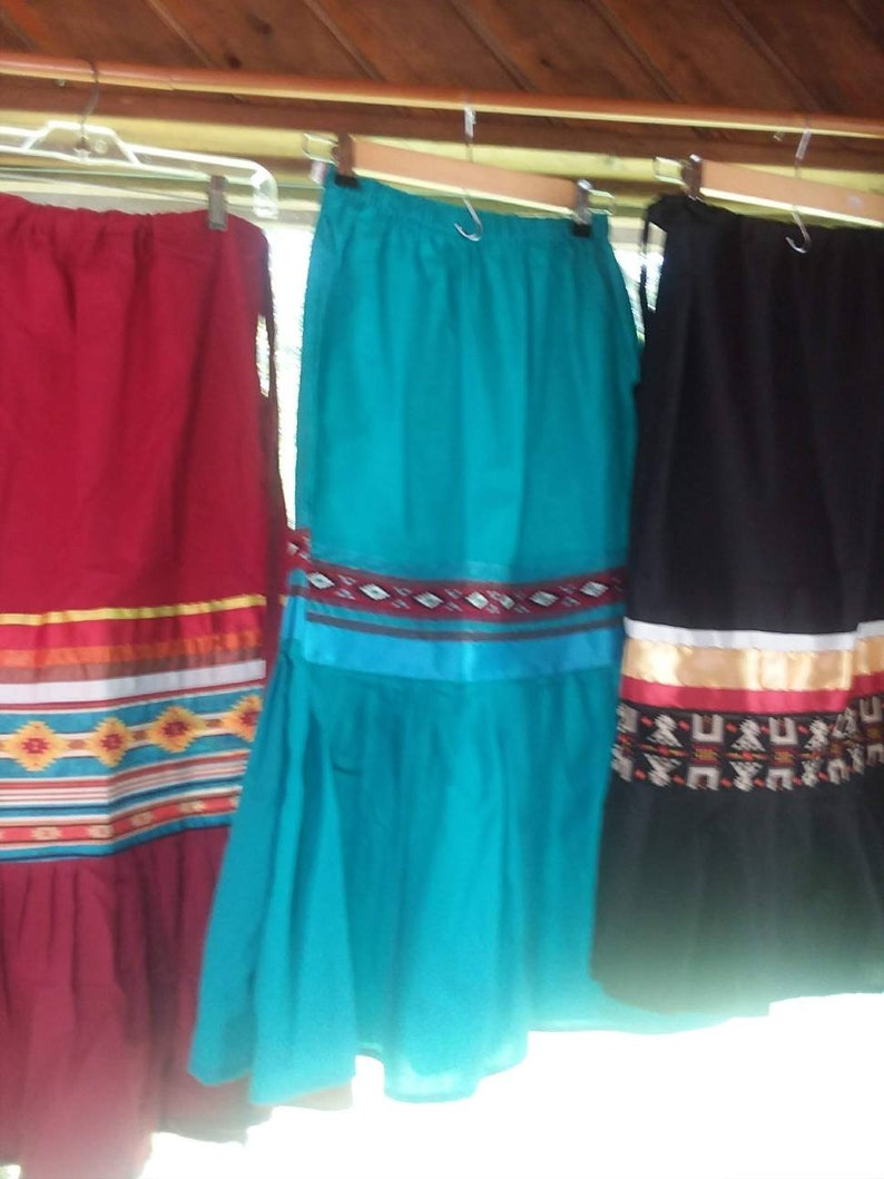 med WOMENS FULL stomp SKIRT blue or red Fits small with tribal print fabric and ribbon trim large 2 tier skirt  in black