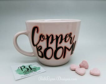Copper BOOM! Big Mug | Ballet Pink | Rose Gold | Shimmer | Custom Mug | 16 Ounces | Dual-Layer Vinyl DECAL | Gorgeous Pink | Gilmore Girls