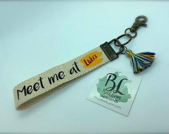 Canvas Key Fob   Luke's Diner   Meet Me at Luke's   Gilmore Girls   Keychain   Bracelet Keychain   Key Ring   Rainbow Tassel   Stars Hollow
