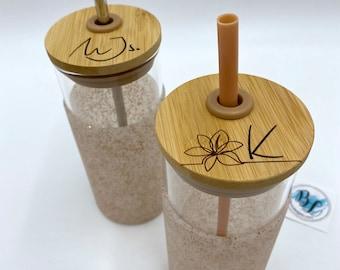 Engraved Customized Glass Tumbler with Bamboo Lid | NO Vinyl | Dishwasher Safe | Reusable Boba Tea Cup | Monogramed Tumbler | Minimalist
