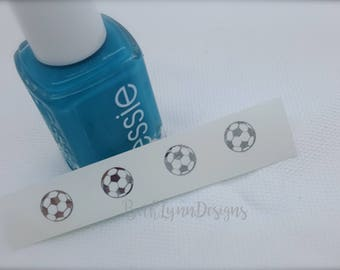 Soccer Ball Nail Decal | Silver Chrome Monogram | Tiny Monogram | Nail Art | Sunglasses Decal | Custom Summer Nails | Sports Manicure