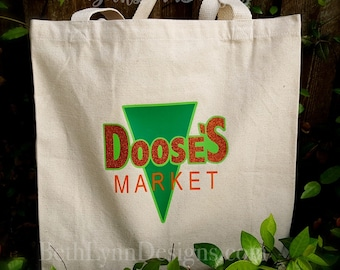 New LARGER SIZE! and with GLITTER! Doose's Inspired Canvas Shopping Bag