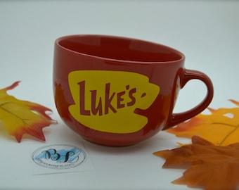 NEW Shape   Featuring RED   Dishwasher - Microwave Safe   Luke's Diner   Big Mug   Lukes mug   Lukes Diner   Gilmore Girls Inspired   16 oz