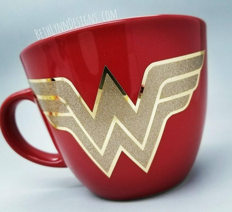 Wonder Woman Mug  Big Mug  Blue Mug  Gold glitter  Gold image 0
