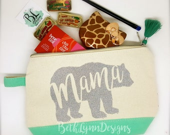 Mama Bear | Cosmetic Bag | GLITTER Design! | Mom Life | Mother's Day | Planner Bag | Canvas Zipper Bag | Gift for Mom | Makeup Bag