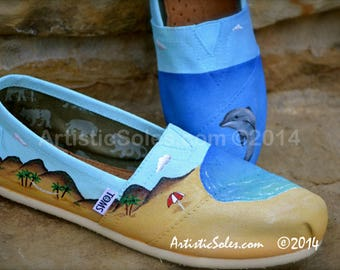 Beach Love | Custom TOMS® Shoes | Dolphin | Custom Painted Cross | Turquoise | Espadrille | Summer Shoes |