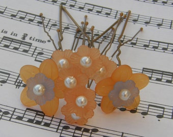 Orange flower hair pins Brides, Bridesmaids, Flower Girls, Proms, set of 8