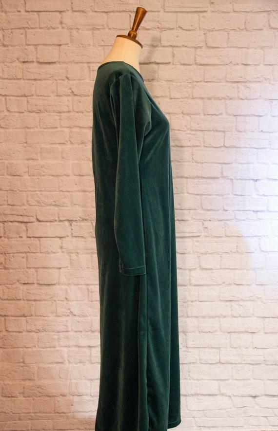 Vintage 1990s Emerald Green Velvet Maxi Dress wit… - image 5