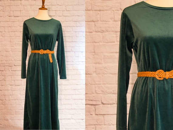 Vintage 1990s Emerald Green Velvet Maxi Dress wit… - image 1