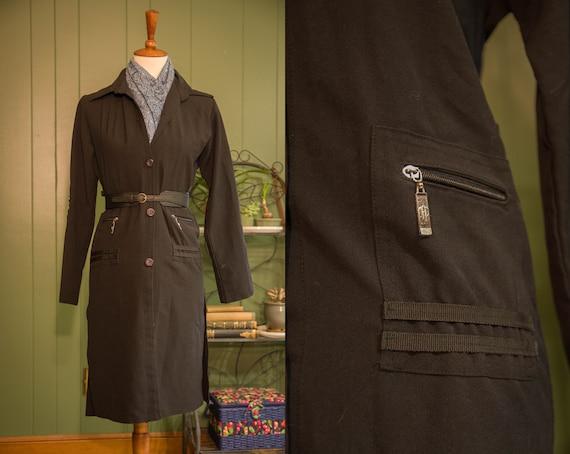 Vintage 1990s Long Black Jacket with Zipper Pocket