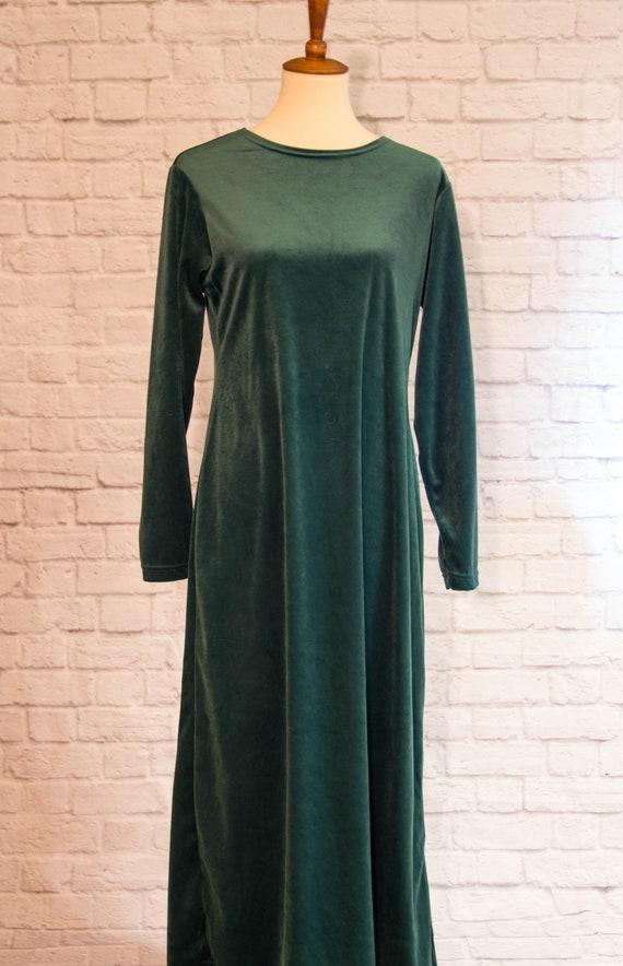 Vintage 1990s Emerald Green Velvet Maxi Dress wit… - image 4