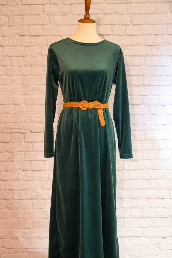 Vintage 1990s Emerald Green Velvet Maxi Dress wit… - image 2