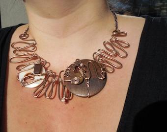 Short necklace, original and unic necklace, aluminium necklace, wooden necklace, plastron neckace, boho necklace, handmade necklace