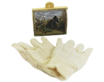 Miniature Mini Bumble Bee Bug House And Beige Canvas Gloves Home Decor  Gardening Fairy Garden Display Shelf Country Rustic Chic Cute Small