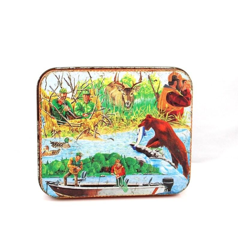 Vintage retro gun bow hunting wildlife fishing bear deer buck rectangle metal tin outdoors wallet sized duck storage container case man gift