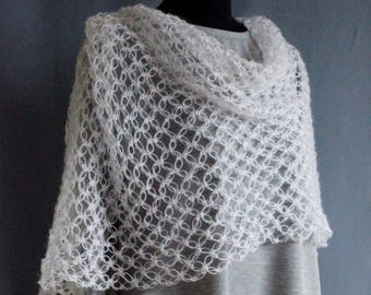 Stole scarf wrap crocheted mohair and wool with acrylic yarn white color Warm Openwork Air For Women Girl Wonderful Gift hand Made Warm gift