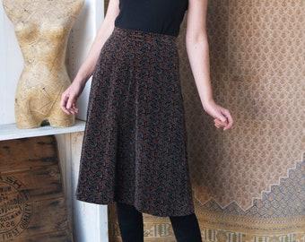 Elegant Dynasty 60s Myrtle Green Cotton Velvet Maxi Skirt with Side Slit /& Pockets26 waist