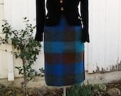 Mid Century Mohair Blend Plaid Pencil Skirt Mod Bright Blue