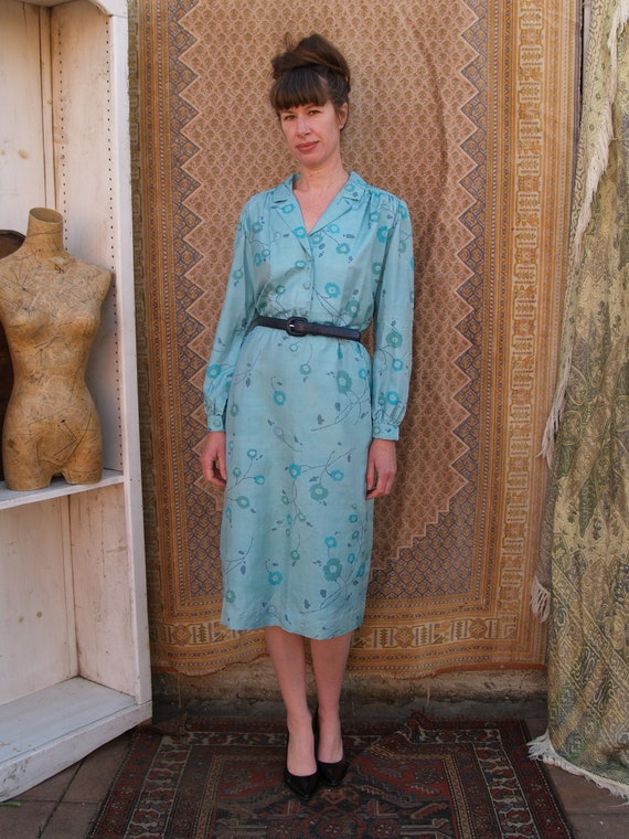 Vintage Eighties Turquoise Floral Secretary Dress