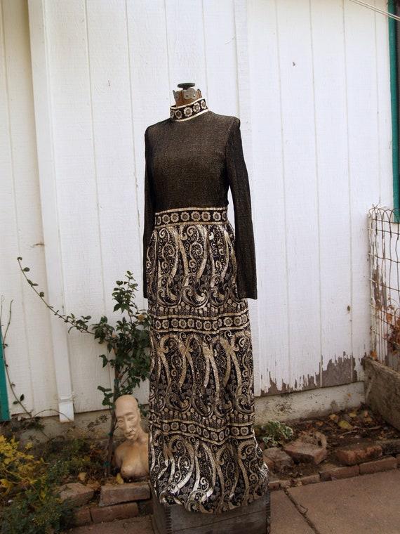 Vintage Polyester Metallic Maxi Dress//Paisleys//G