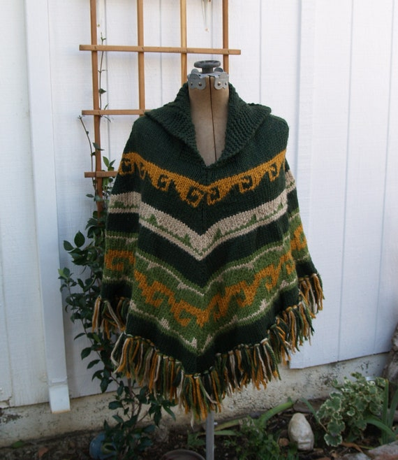 Vintage Seventies Heavy Knit Poncho with Fringe