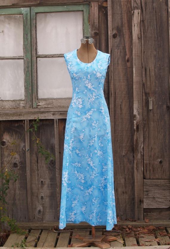 Vintage Baby Blue Floral Maxi Dress Bridesmaid Dre